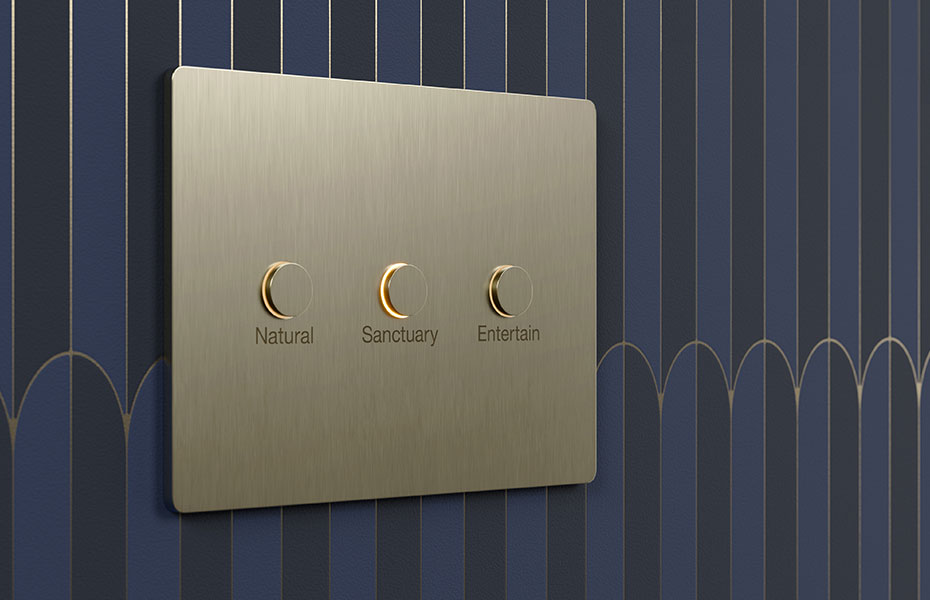 Lutron keypad Alisse with three buttons engraved on wall