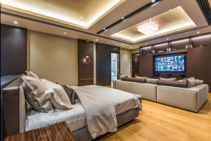Bedroom with smart AV system