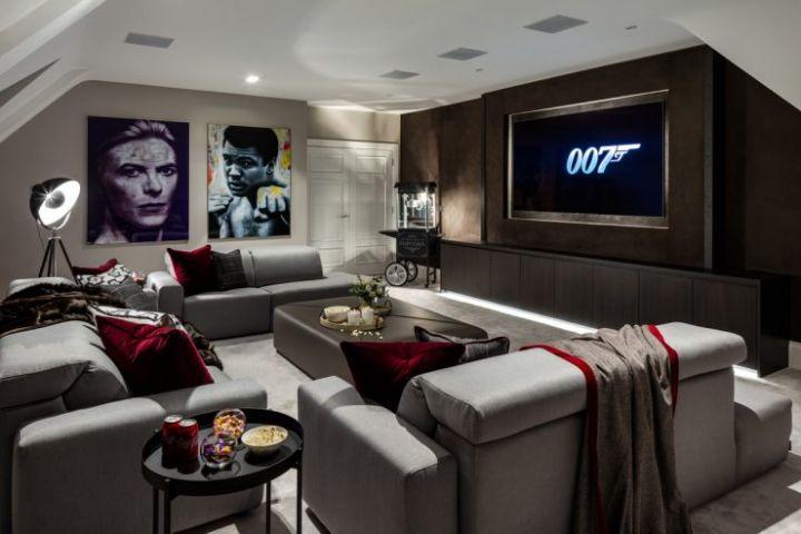 Smart Home Installers London Games Room Media Room Cinema room with 4k Flat Screen TV Samsung