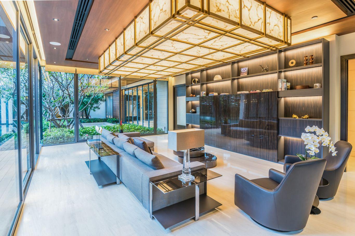 Living room with AV system, TV hidden