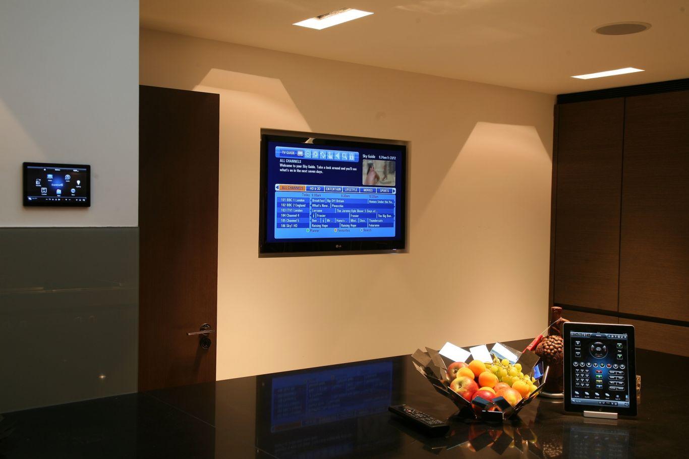 Flush smart TV in kitchen